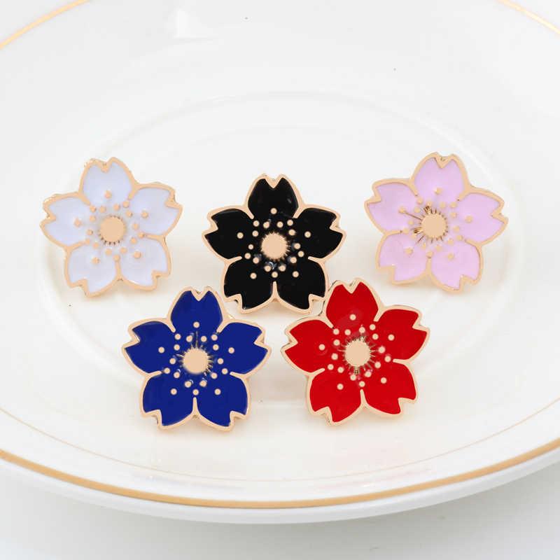 Цветные заколки для цветов, женские серьги «Маргаритка», брошь с цветком вишни, розовые значки на пуговицах с цветами, джинсовая сумка, женские аксессуары