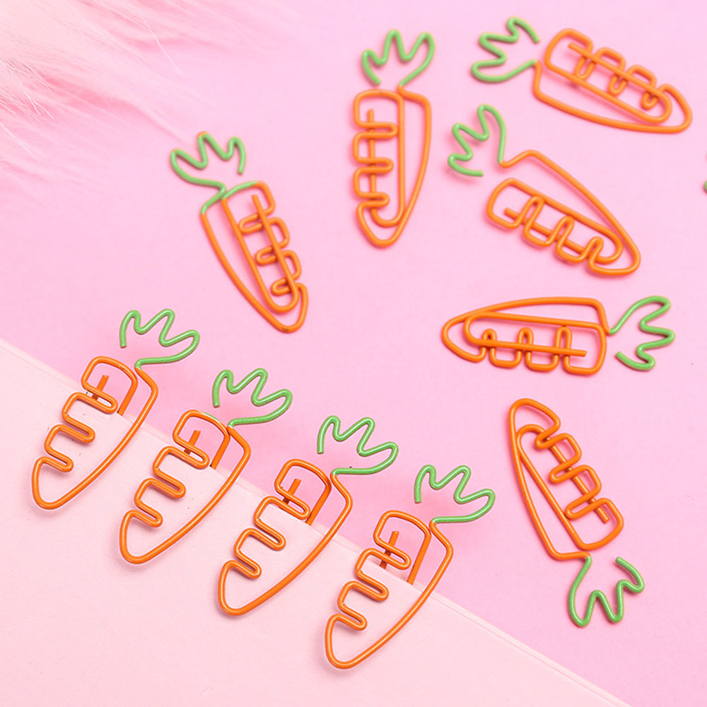 5Pcs/lot Creative Kawaii Carrot Shaped Metal Paper Clip Bookmark Stationery School Office Supplies