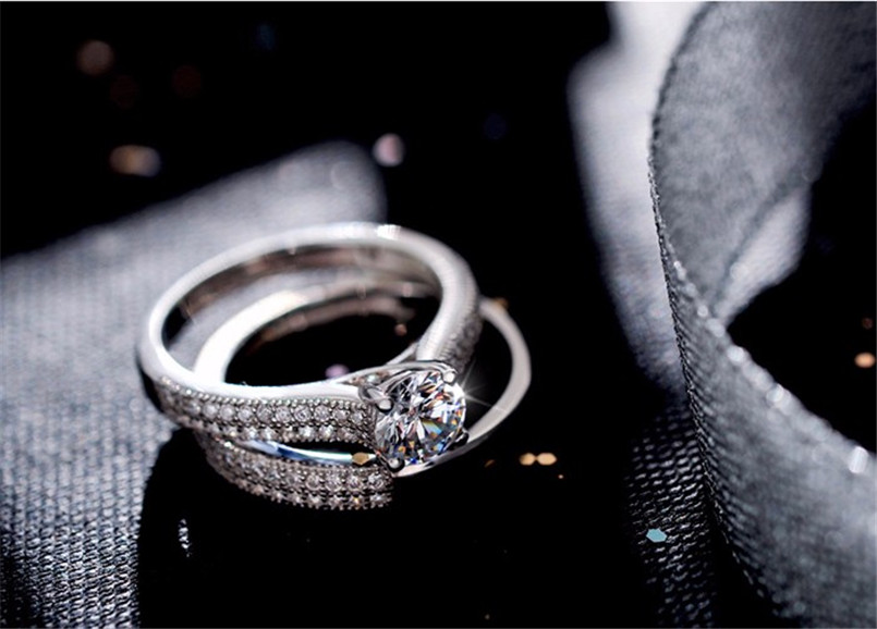 CC 925 Silver Rings For Women Simple Design Double Stackable Fashion Jewelry Bridal Sets Wedding Engagement Ring Accessory CC634