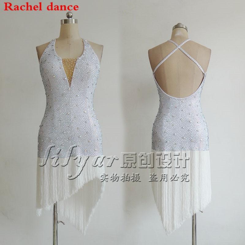 Tassel Latin Dance Dress Women Top Harness Style Back Cross Opening Salsa Tango Rumba Flamengo Latin Dance Competition Costumes