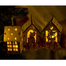 Durable Mini Wooden House with Lights Hanging Decor Ornaments Christmas Tree Decor for Xmas Cute Kids Gifts