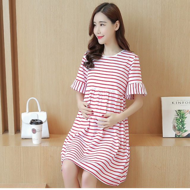 Best Ing Maternity Clothes Stripe Pregnant Dress Summer Loose Pregnancy Clothing O Neck Women