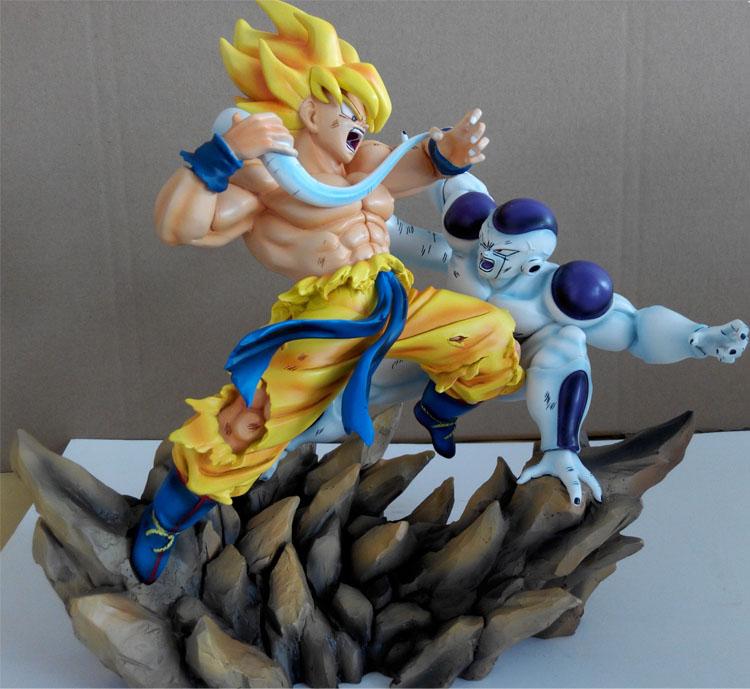 MODEL FANS Anime Dragon Ball Z 30cm Super Saiyan Son Guko VS Freeza Resin GK Action Figure Toys [show z store] fanstoys ft 08x grinder fans toys iron dinobots no 5 masterpiece grimlock premium paint figure