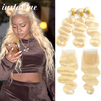 Instaone Blonde 613 Bundles With Closure 4Pcs/Lot Brazilian Body Wave 08 26 Inch 100% Human Hair Bundles Remy Hair Extension
