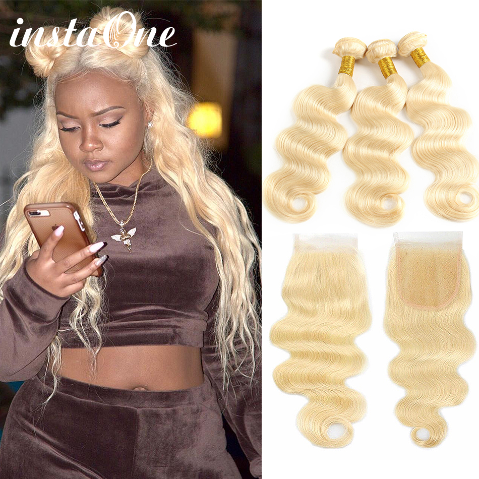 Instaone Blonde <font><b>613</b></font> <font><b>Bundles</b></font> With Closure 4Pcs/Lot Brazilian <font><b>Body</b></font> <font><b>Wave</b></font> 08-26 Inch 100% Human <font><b>Hair</b></font> <font><b>Bundles</b></font> Remy <font><b>Hair</b></font> Extension image