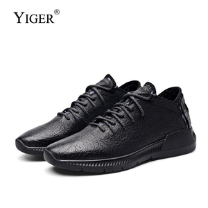 Image 1 - YIGER New mens sports shoes genuine leather man casual slip on shoes spring cow leather male leisure shoes pure black  0264