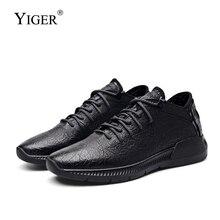 Мужские спортивные туфли YIGER, натуральная кожа, Повседневные слипоны, бычья кожа, повседневная обувь для отдыха, чистый черный цвет, весна 0264