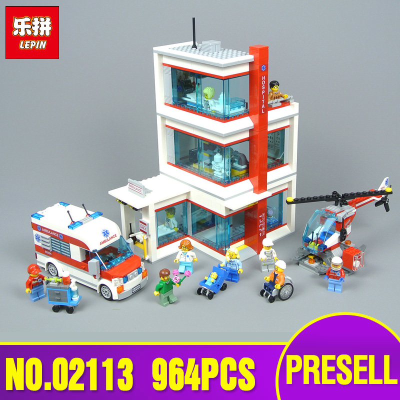 Lepin 02113 Kids Toys Compatible 60204 legoing City Hospital Set Toy Model Building Blocks Bricks Kits Funny DIY Christmas Gifts lepin 15013 city street carousel model building kits assembling blocks toy legoing 10196 educational merry go round gifts