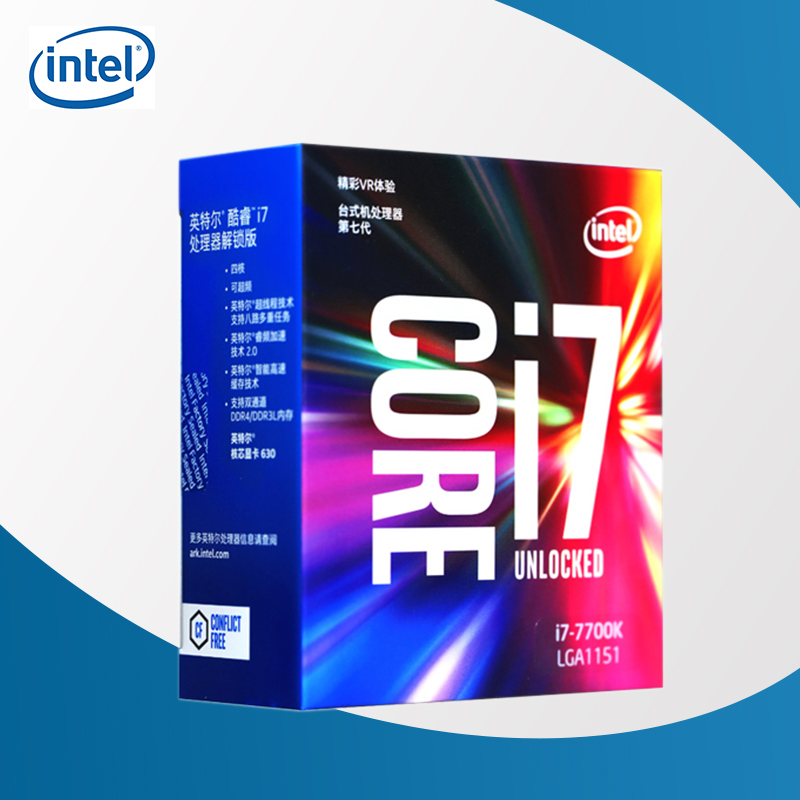 Intel 7th Gen Intel Core Desktop Processor intel core <font><b>i7</b></font>-<font><b>7700K</b></font> <font><b>7700K</b></font> Quad-core 8 threads 4.2G 91W LGA <font><b>1151</b></font> image