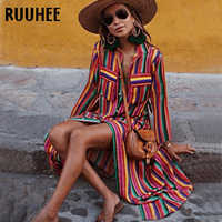 RUUHEE Women Sexy Cover-ups Striped Vintage Cover up Swimwear Button Ladies Beach Dress Beach Wear Women Robe de Plag