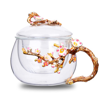 Creative Glass Double Wall Mug Filter Glass Flower Tea Cup Heat-Resistant With Lid Cups And Mugs Tea Separation Flower Drinkware
