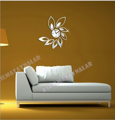 2013 3D best wall clock Home decoration DIY petal design mirror wall ...