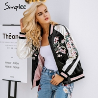 Simplee Reversible embroidery satin jacket coat sukajan Autumn winter 2017 flower basic jackets women Casual baseball jackets