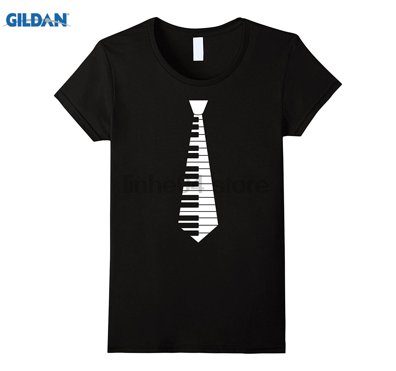 GILDAN Fake Piano Jazz Music Tie Keyboard Funny T-Shirt Hot Womens T-shirt