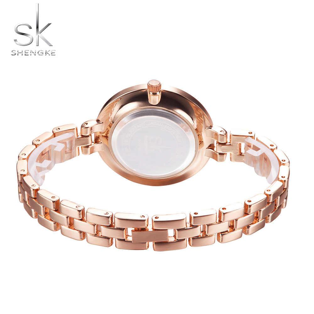 SK גבירותיי פשוט עגול חיוג רוז זהב צמיד נשים שעונים 2020 למעלה מותג שמלת קוורץ שעון שעונים נשים Montre Femme