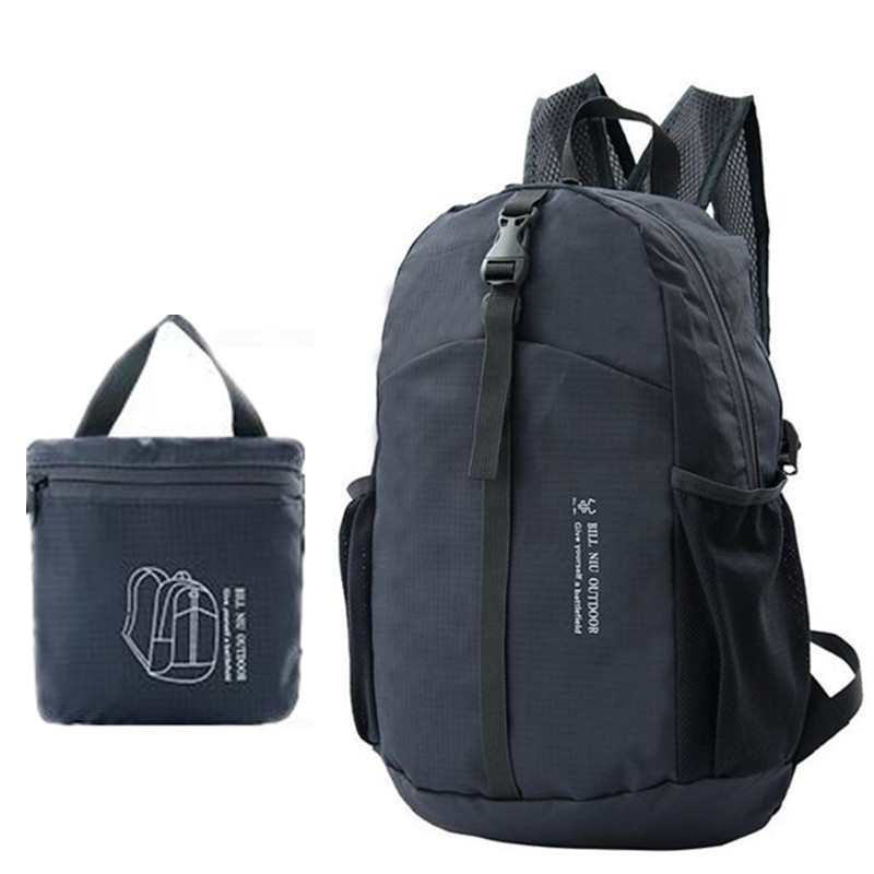 Envío libre impermeable de nylon plegable mochila de peso ligero hombres y mujer