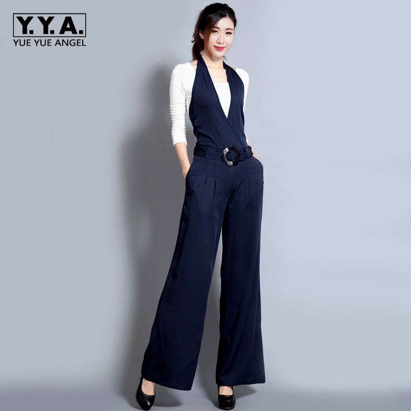 2018 Spring New Casual Trousers Black Slim Jumpsuit Wide Leg Pants Hanging Neck Bib Jump ...