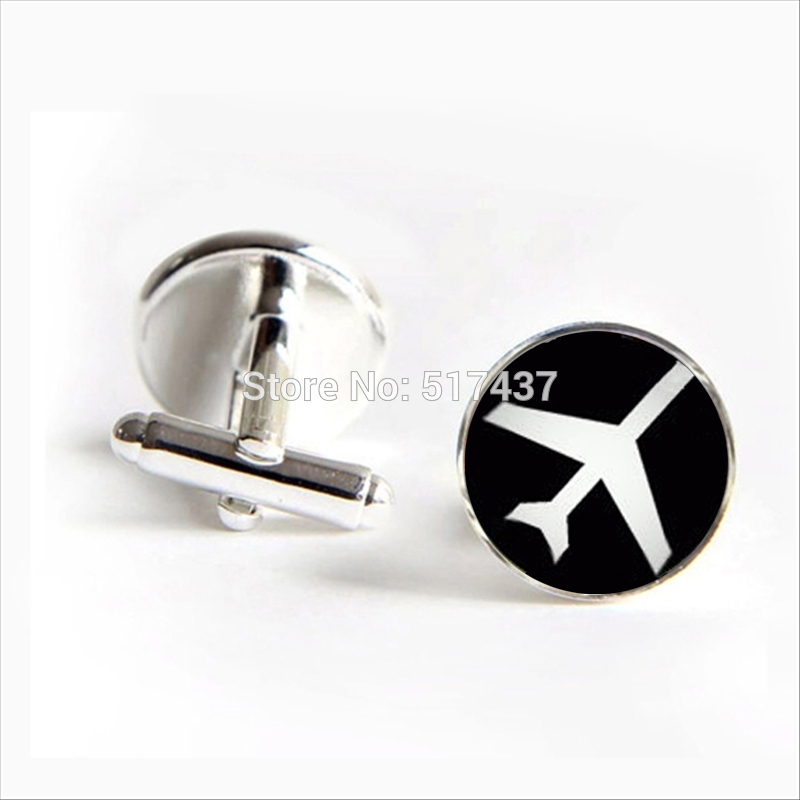 J-488 wholesale Airplane Cufflinks Aviation Silhouette Cuff link Shirt Cufflinks For Mens Brand Cuff Links image