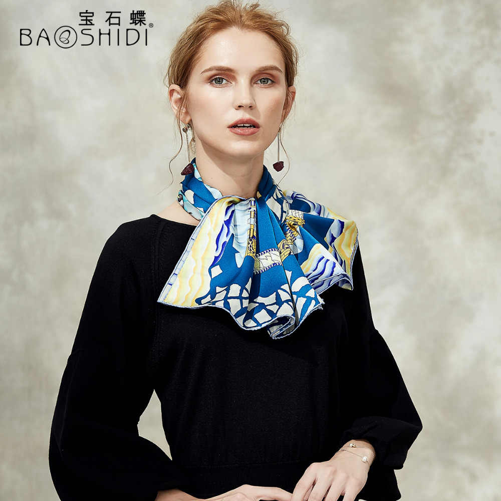 [BAOSHIDI] 2018 Autunno Nuovo Arrivo, 16 m/m Pura Seta sciarpa del hijab Delle Donne, Infinity Scialle quadrato, di lusso di marca sciarpe per la signora elegante