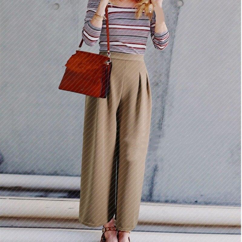 Elastic High Waist   Wide     Leg     Pants   Female Pleated Palazzo Long   Pants   Women Elegant Plus Size Loose   Pants