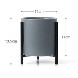 Image 2 - Nordic simple Ceramic Flower Pot Planter And Geometric Round Iron Rack Stand Anti rust Holder Display Home Decoration