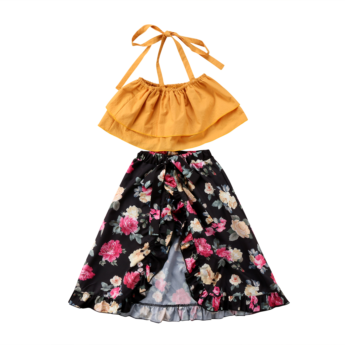 Pretty Toddler Baby Kids Girls Clothes Sets Sisters Floral Tops Shorts Skirts Flower Cotton Cute Outfits Clothing Set Girl 0-6T princess toddler kids baby girl clothes sets sequins tops vest tutu skirts cute ball headband 3pcs outfits set girls clothing
