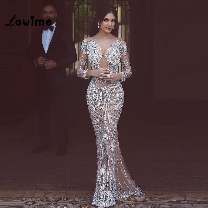 Silver Prom Dress with Sleeves