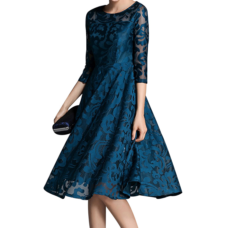 Autumn Lace Dress Work Casual Slim Fashion O-neck Hollow Out Sexy Blue Red Dresses Women A-line Vintage Vestidos