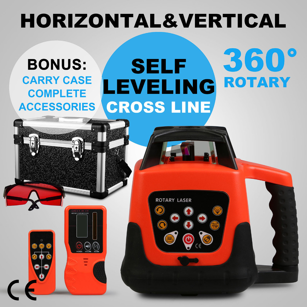 Red Laser Level Self-leveling Red Beam Self-leveling Rotary Laser Level 360 Degree Adjustment with Strong Carrying Case