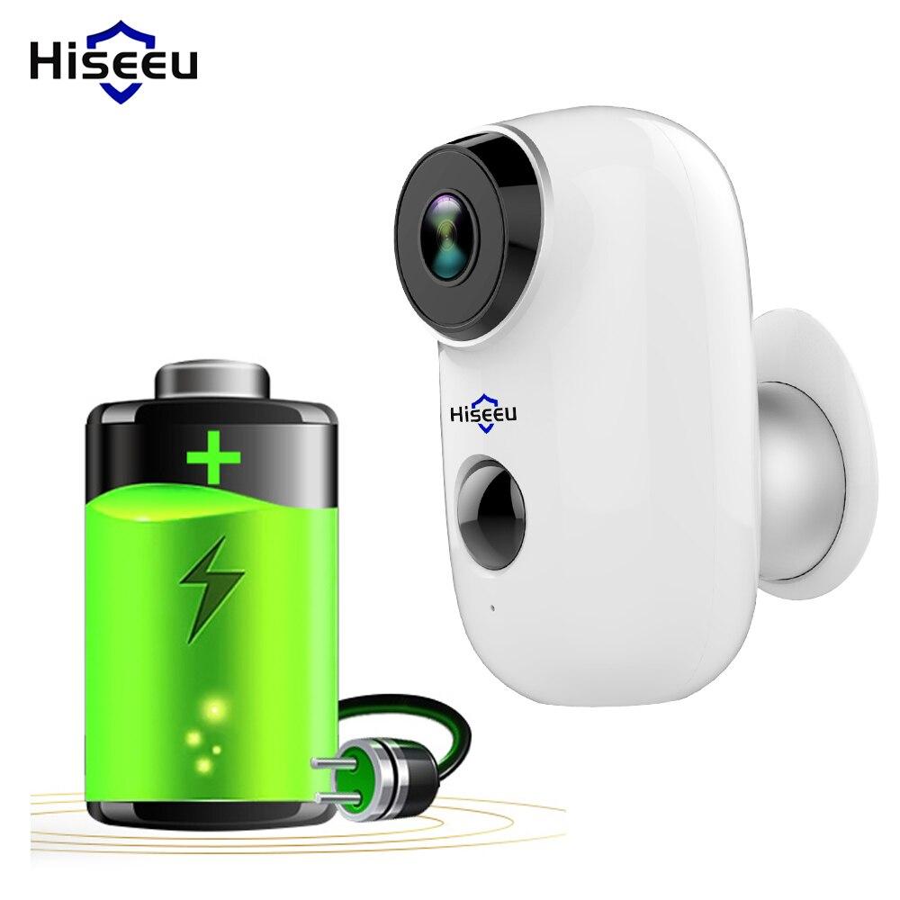 Caméra de batterie Wifi HD caméra IP Rechargeable extérieure PIR mouvement étanche détecter App vue Hiseeu