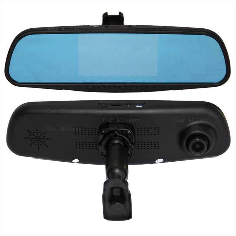 BigBigRoad pour honda city double lentille voiture miroir caméra DVR écran bleu enregistreur vidéo Dash Cam avec support d'origine caméra de tableau de bord