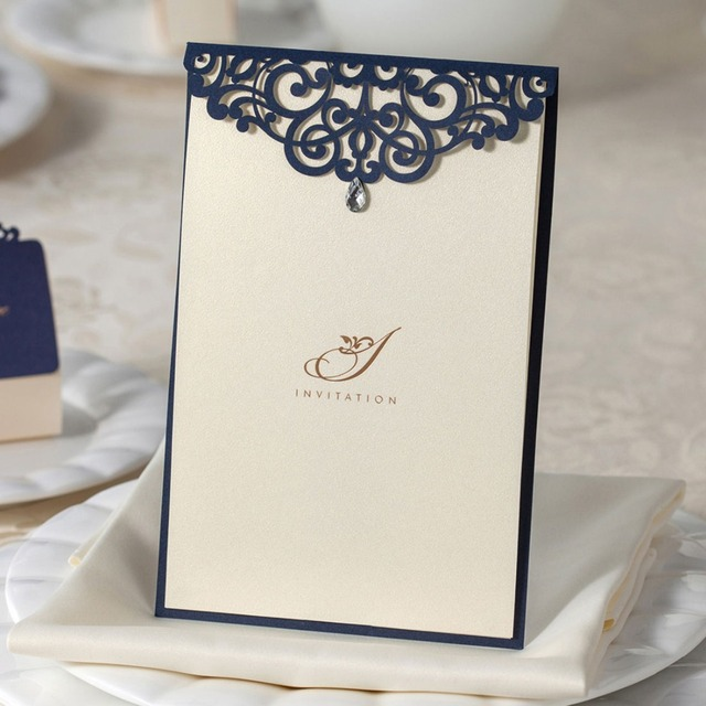 50pcs Navy Blue Laser Cut Wedding Invitations Cards With Rhinestone