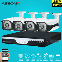 Hot 4 Ch Full HD 1920p AHD CCTV Camera DVR Video Recorder 3MP Home Outdoor Security Camera System Kit Array Surveillance P2P