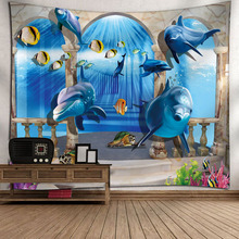 Forest Tapestries House Water Plant Ocean Wall Hanging Beach 3D Wedding Landscape Decor Blanket Rectangle Polyester New Variety