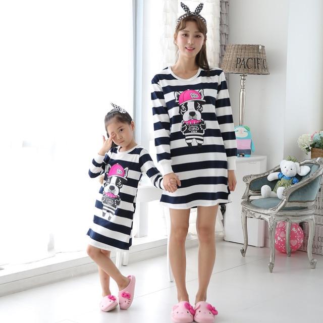 1a334121e03d7 Family Christmas Striped Pajamas long sleeve Mother Daughter Dresses Mom  and Daughter Dress Pijama infantil