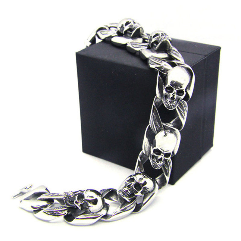 1pc Newest Design Motorcycles Biker Skull Bracelet 316L Stainless Steel Jewelry Ghost Skull Bracelet fashion 316l stainless steel man bracelet skull pattern h012