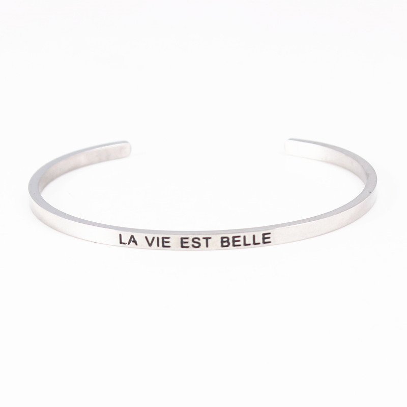 Us 3 28 Stainless Steel Engraved Positive Inspirational Quote Hand Stamped Cuff Bracelet