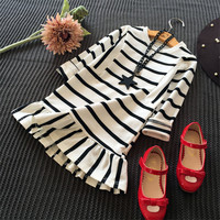 Girls Dress Casual Black White Striped Cotton Kids Dresses Sports Style O Neck Long Sleeve Children