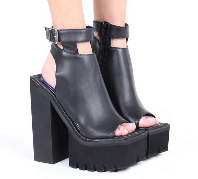 Free shipping slingbacks buckle strap peep toe platform sandal black leather woman ankle wrap high heels ankle boots casual shoe
