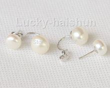 Elegante twinborn 10mm blanco Pendientes de perlas de agua dulce