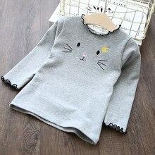 Детские топы для девочек; детские осенние Топы с вышивкой кота; модная мягкая хлопковая блузка с длинными рукавами для маленьких девочек