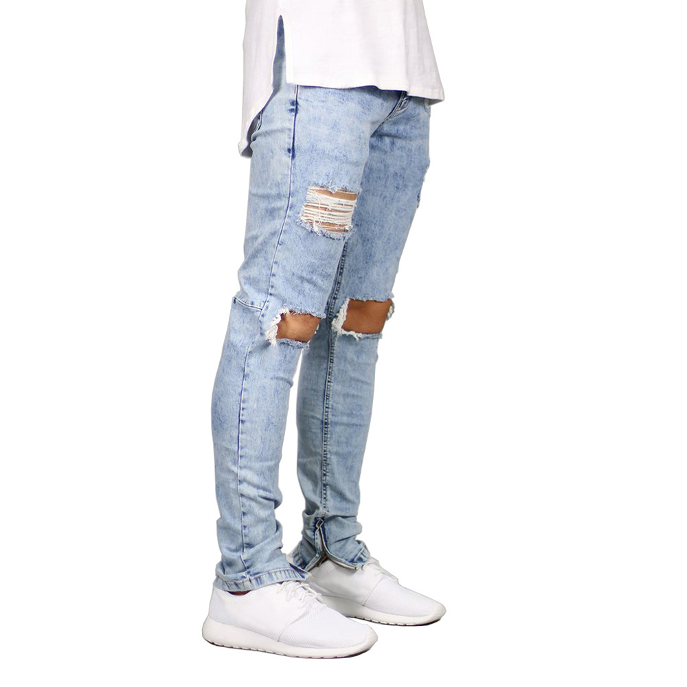 Men Jeans Stretch Destroyed Ripped Design Fashion Ankle Zipper Skinny Jeans For Men E5020 top designer blue ripped jeans mens denim hole zipper biker jeans men slim skinny destroyed torn jean pants streetwear jeans