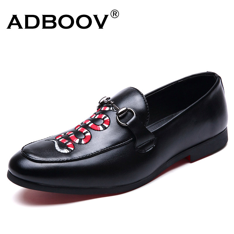 ADBOOV Fashion Leather Shoes Men Loafers Snake Embroidery Casual Shoes Slip On Low Heel Semi Formal Shoes Zapatos Hombre fashion men loafers slip on brand designer low top casual men flats leather shoes calzado hombre comfortable leisure male shoes