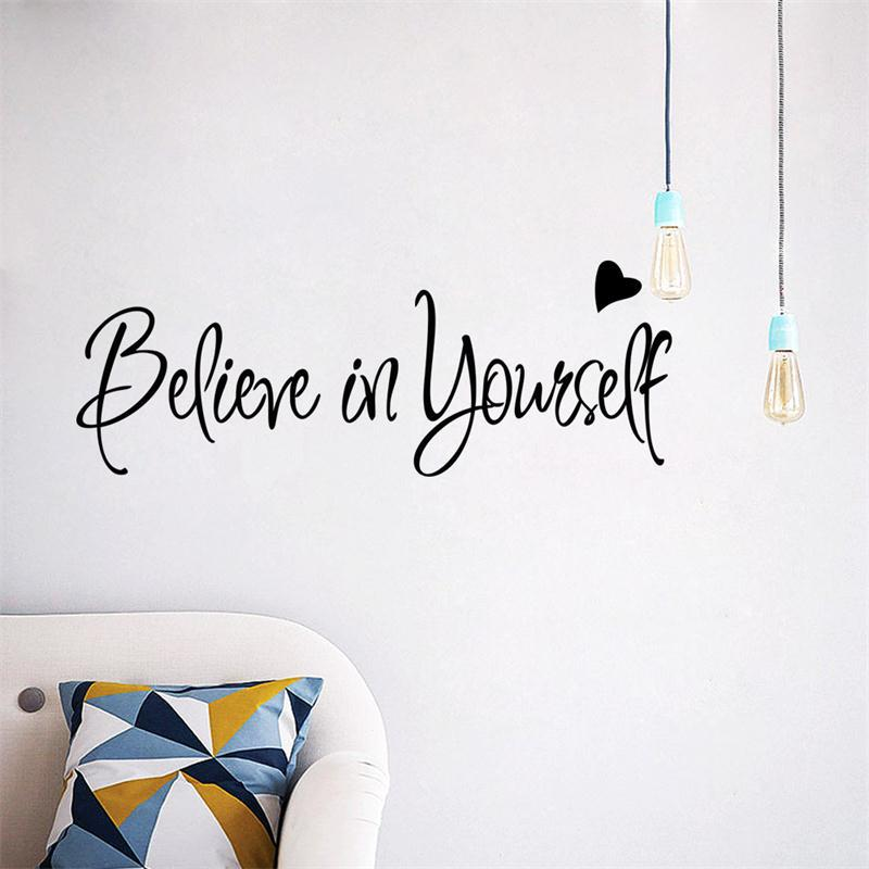 Beileve In Yourself Heart Inspiration Quote Words Home Decor Wall Sticker  Classroom Study Room Decoration For Kids Rooms Print In Wall Stickers From  Home ...
