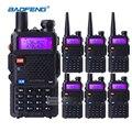 6 pcs long distance walkie talkies baofeng uv-5r 5 w dual band vhf uhf rádio móvel de duas vias de comunicação de negócios fone de ouvido + bateria