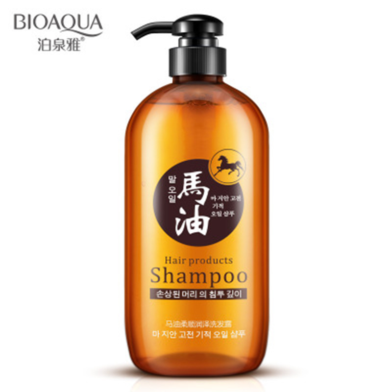 Купить с кэшбэком BIOAQUA 300ml Professional Hair Care Product Horse Oil Without Silicone Anti Hair Loss Shampoo Improve Frizz Repair Damage