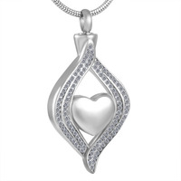 IJD8111 Crystal Waterdrop with Small Heart Cremation Urn Necklace for Pet Stainless Steel New Funeral Keepsake ASHES PENDANT