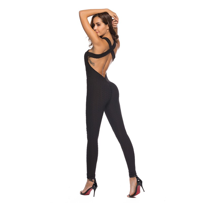 2c57825cb7ee 2018 New Style Women Sporting Jacquard Weave Jumpsuits Fitness Knitted Sexy  Elastic bodysuit Push Up Playsuit Slim Feme Jumpsuit-in Jumpsuits from  Women s ...