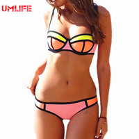 Womens Super Push Up Neoprene Bikini Set 2017 UMLIFE Top Quality Large Size Swimwear XS XL