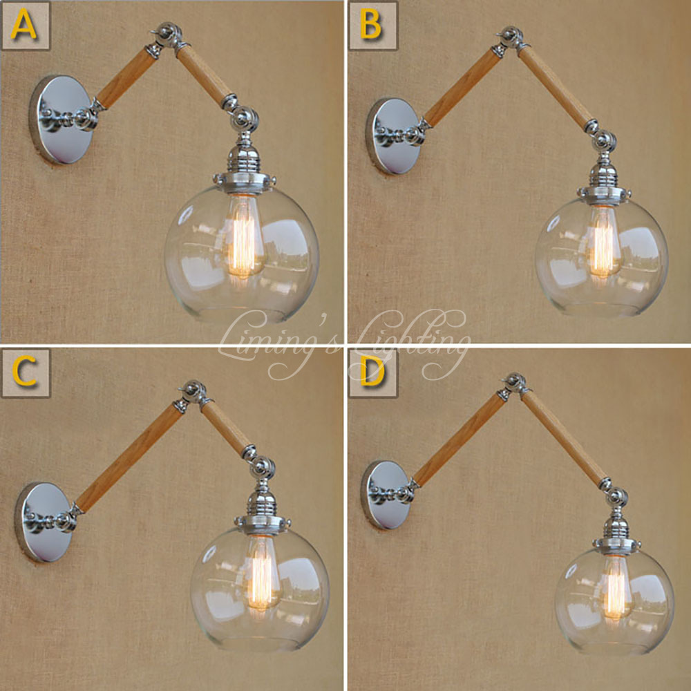 Nordic Wooden Adjustable Swing Arm Wood Glass Ball Shade Wall Lamp Reading E27 Led Vintage Light Restaurant Bedroom Cafe Bar top grade wood handcrafted swing arm light sconce led wall lamp nordic style home decoration lighting e27 black with switch